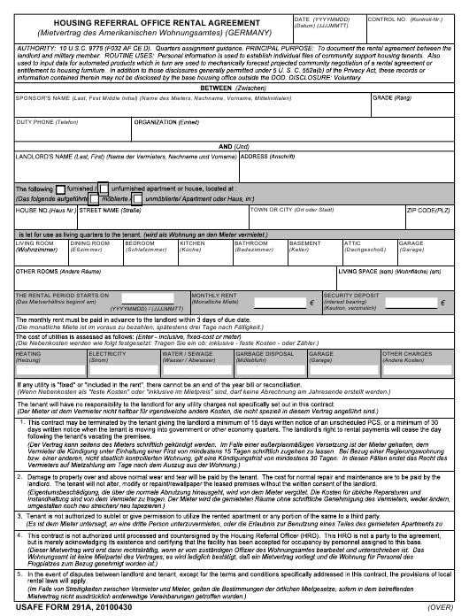 Usafe Form 291a Download Fillable Pdf Housing Referral