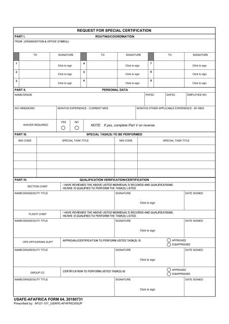 USAFE-AFAFRICA Form 64  Printable Pdf