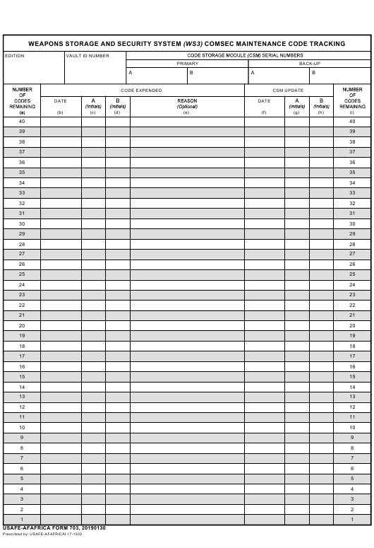 USAFE-AFAFRICA Form 703  Printable Pdf