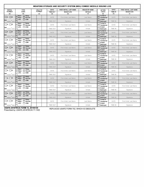 USAFE-AFAFRICA Form 13  Printable Pdf