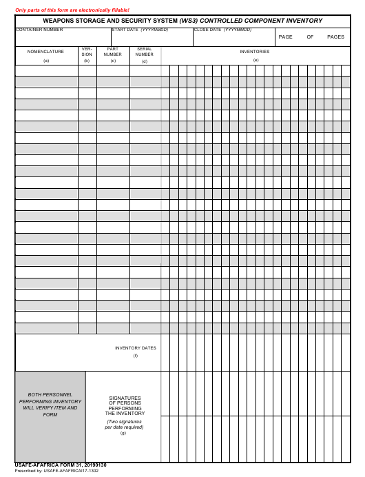 USAFE-AFAFRICA Form 31  Printable Pdf