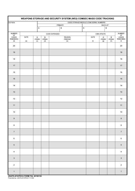 USAFE-AFAFRICA Form 704  Printable Pdf