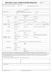 "USAFA Form 19 ""Mitchell Hall Food Support Request"""