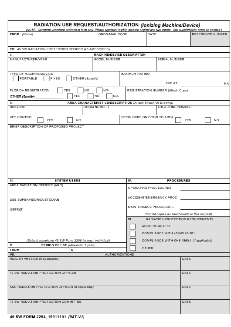 45 SW Form 2254  Printable Pdf