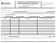 "Form DAS-95 ""Licensed Cigarette Stamping Agent (Csa) Reporting Schedule for Cigarette Sales in Pennsylvania of Non-participating Manufacturer (Npm) Brands"" - Pennsylvania"