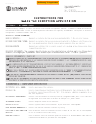 Form REV-72 Application for Sales Tax Exemption - Pennsylvania
