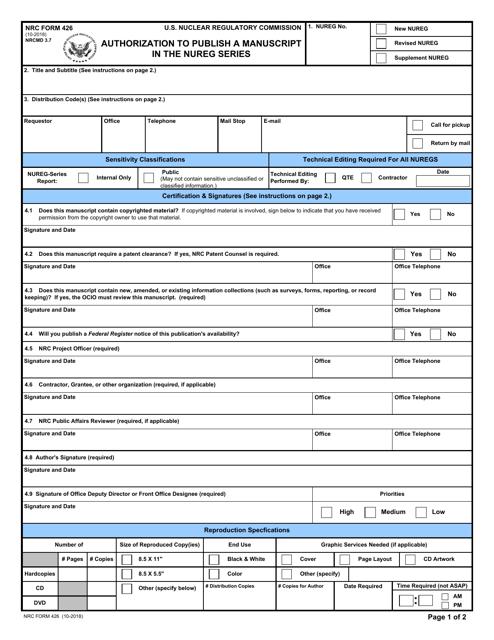 NRC Form 426  Printable Pdf