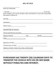 Bill of Sale Form - Coffee County, Alabama