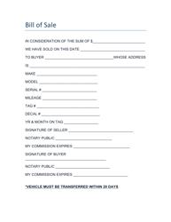 Bill of Sale Form - Coosa County, Alabama
