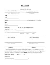 Bill of Sale Form - Houston County, Alabama