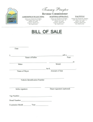 Bill of Sale Form - Lawrence County, Alabama