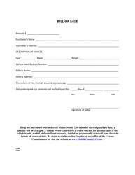 Bill of Sale Form - Mobile County, Alabama