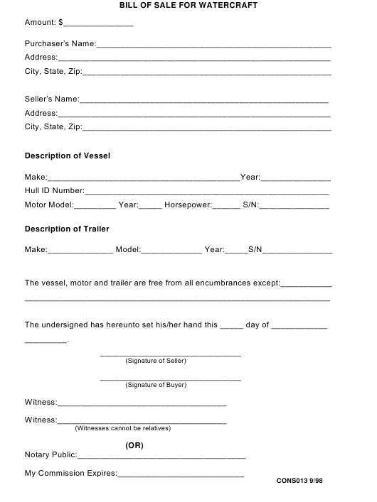 Bill of Sale for Watercraft - Mobile County, Alabama Download Pdf