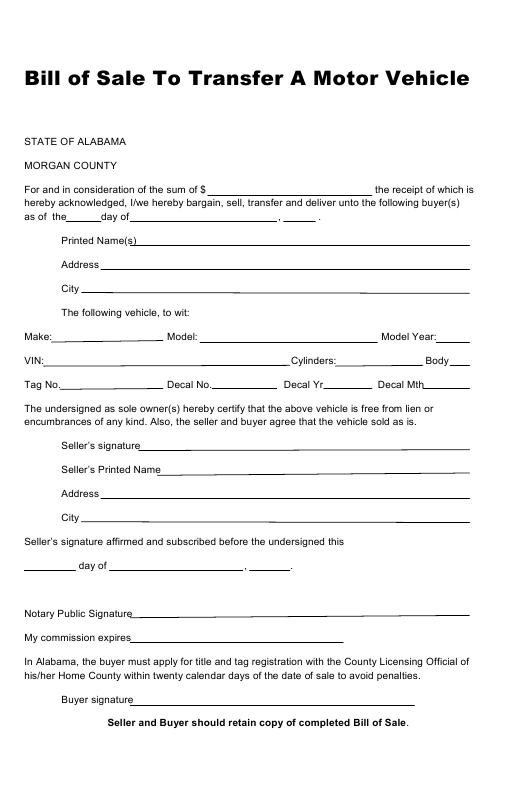 """Bill of Sale to Transfer a Motor Vehicle"" - Morgan County, Alabama Download Pdf"