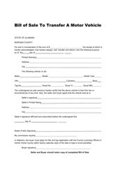 Bill of Sale to Transfer a Motor Vehicle - Morgan County , Alabama