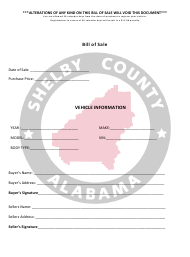 """Vehicle Bill of Sale Form"" - Shelby County, Alabama"