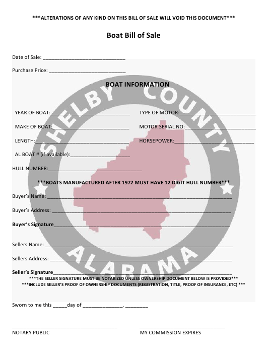 """Boat Bill of Sale Form"" - Shelby County, Alabama Download Pdf"
