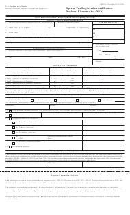ATF Form 5630.7 Special Tax Registration and Return National Firearms Act (Nfa)