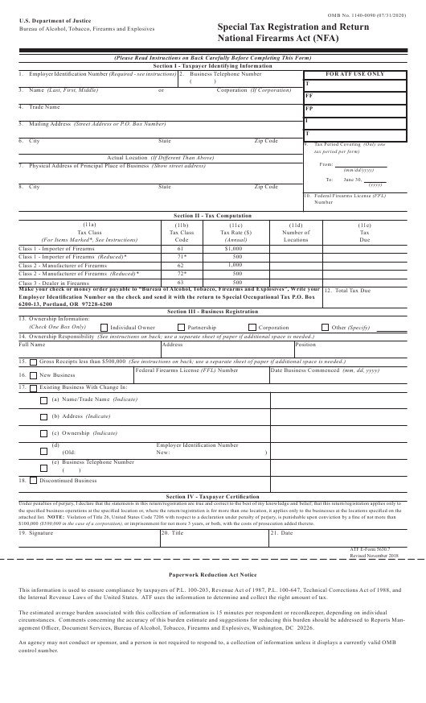 ATF Form 5630.7  Printable Pdf