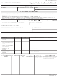 ATF Form 5400.5 Report of Theft or Loss-Explosive Materials