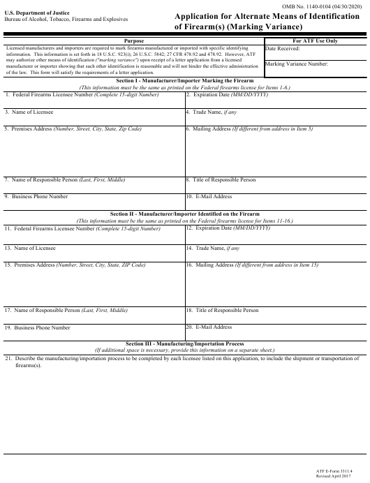 ATF Form 3311.4 Fillable Pdf