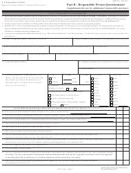 ATF Form 5310.12A (Atf Form 7) Atf Form 5310.16 (Atf Form 7cr) Part B - Responsible Person Questionnaire (Supplement for Use by Additional Responsible Persons)