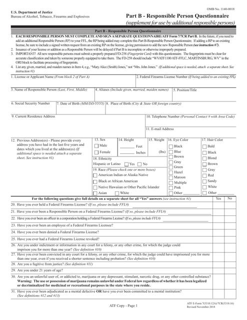 ATF Form 5310.12A (7; 5310.16; 7CR) Part B  Printable Pdf