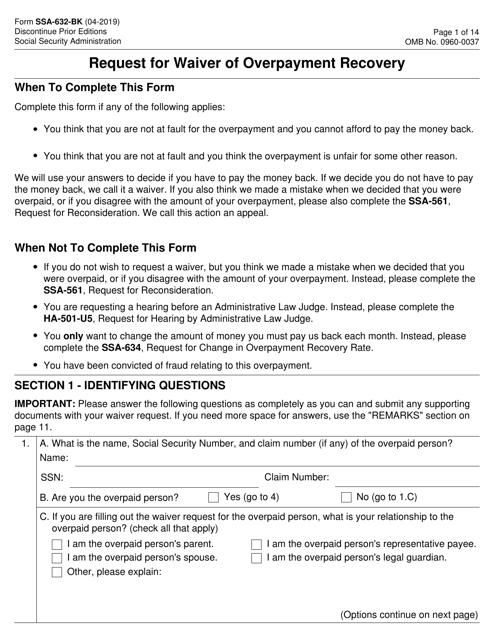 Form SSA-632-BK  Printable Pdf