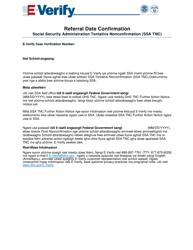 """Social Security Administration (Ssa) Referral Date Confirmation"" (Carolinia)"
