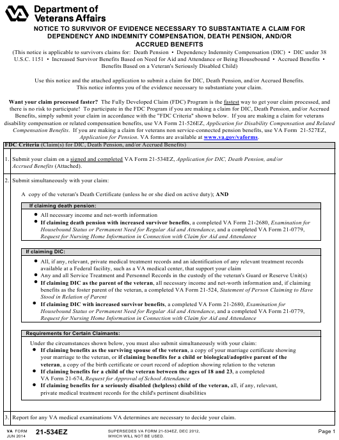VA Form 21-534EZ  Printable Pdf
