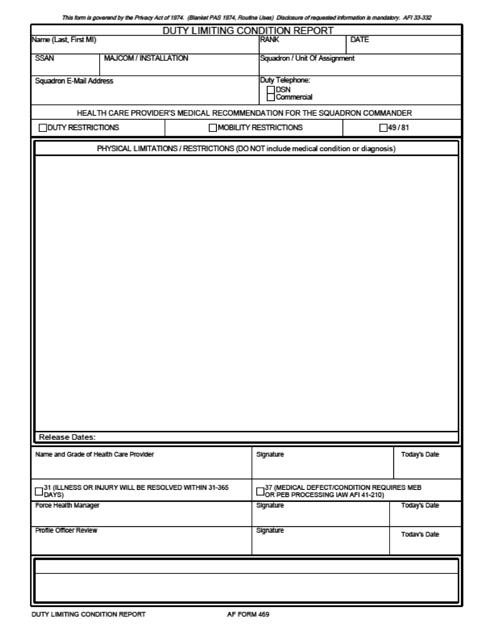 AF Form 469 Printable Pdf