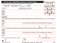 "PS Form 3575 ""Official Mail Forwarding Change of Address Order"""