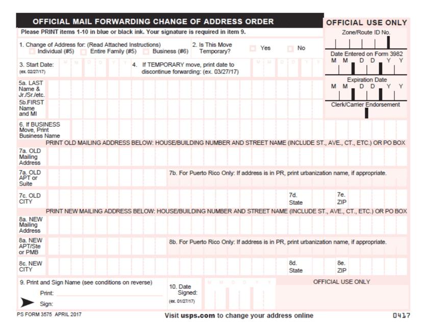 PS Form 3575  Printable Pdf