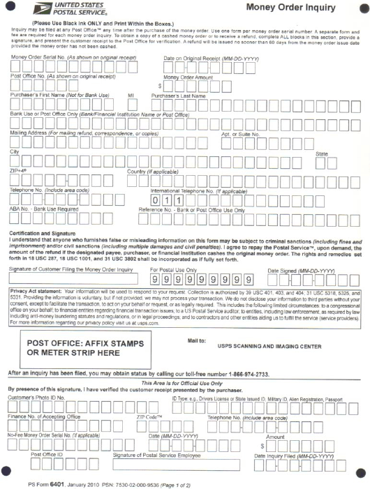 Ps Form 6401 Download Printable Pdf Or Fill Online Money Order Inquiry Templateroller