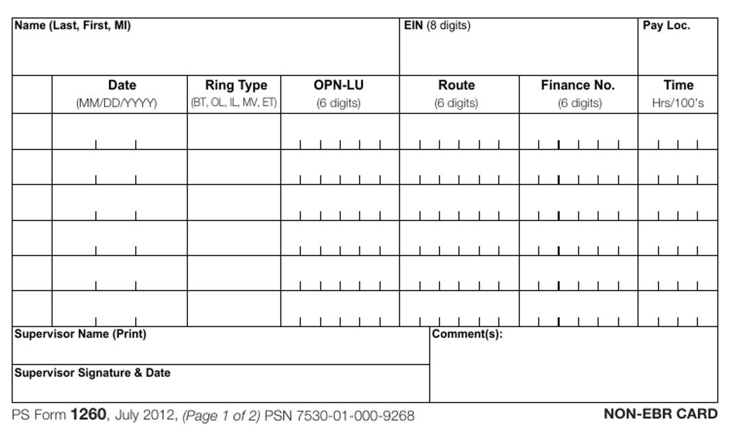 PS Form 1260  Printable Pdf