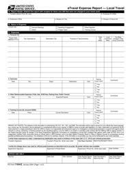 "PS Form 1164-E ""Etravel Expense Report - Local Travel"""