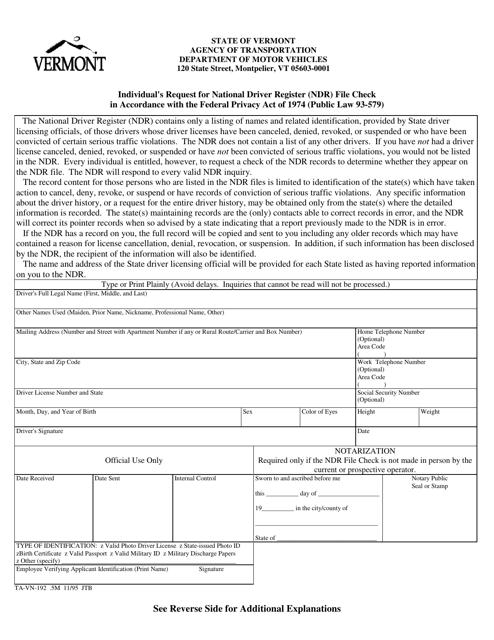 Form TA-VN-192  Printable Pdf