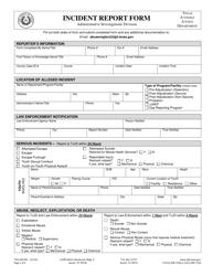 """Form TJJD-AID-001 """"Incident Report Form"""" - Texas"""