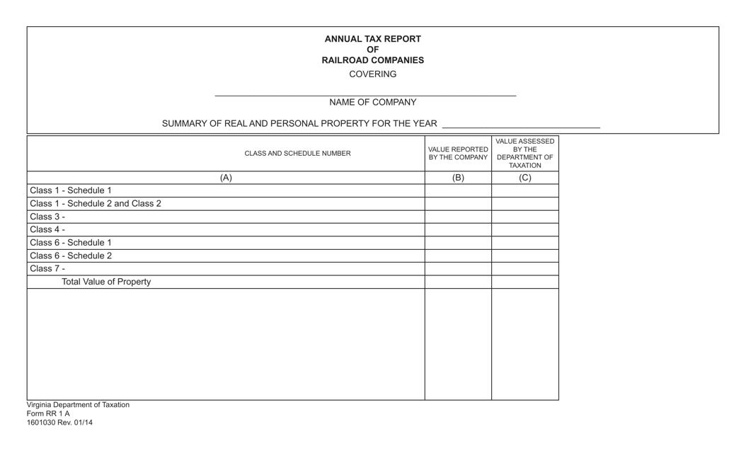 Form RR1 A  Printable Pdf