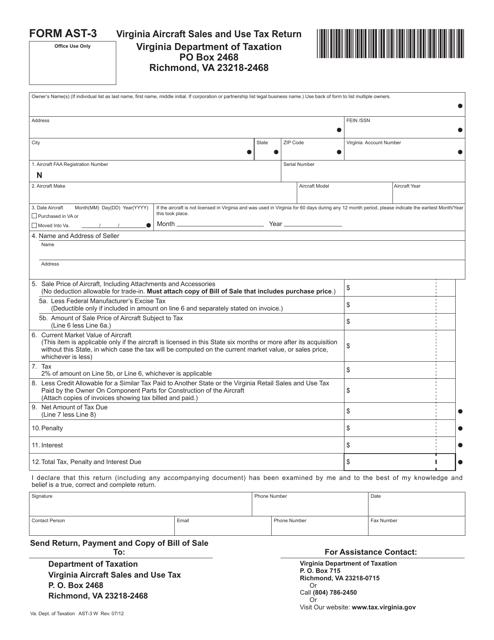 Form AST-3  Printable Pdf