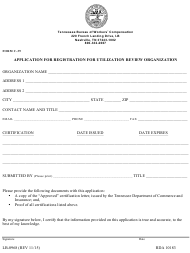 "Form C-39 (LB-0968) ""Application for Registration for Utilization Review Organization"" - Tennessee"