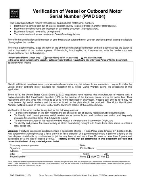 Form PWD504  Printable Pdf