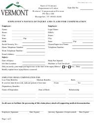 "DOL Form 5 ""Employee's Notice of Injury and Claim for Compensation"" - Vermont"