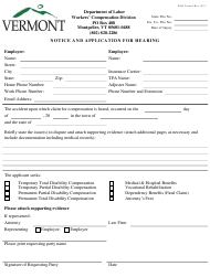 "DOL Form 6 ""Notice and Application for Hearing"" - Vermont"