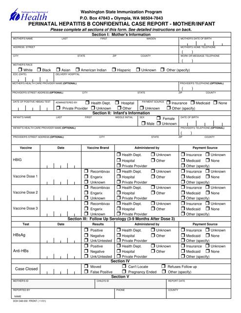 Form DOH348-030  Printable Pdf