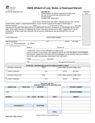 """DSHS Form 09-013 """"Dshs Affidavit of Lost, Stolen, or Destroyed Warrant"""" - Washington"""