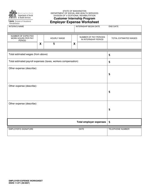 DSHS Form 11-071  Printable Pdf