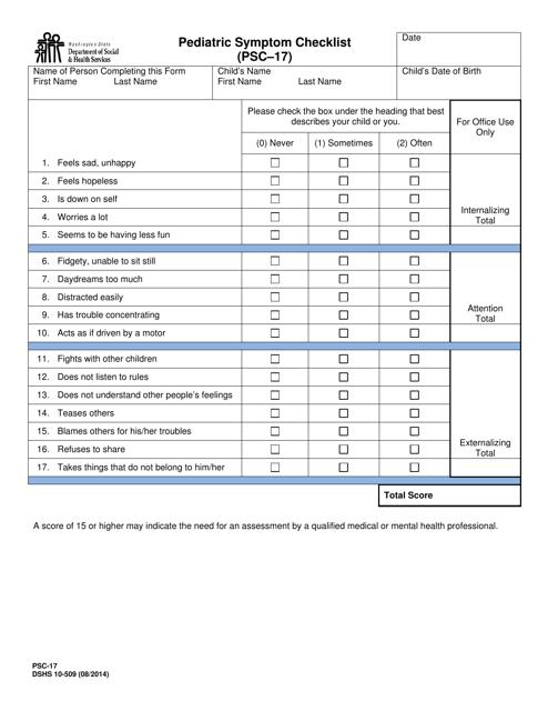 DSHS Form 10-509  Printable Pdf