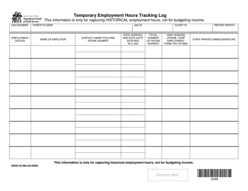 DSHS Form 02-586  Printable Pdf