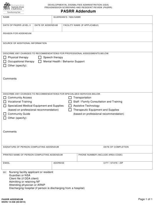 Dshs Form 14 538 Download Printable Pdf Or Fill Online Pre Admission Screening And Resident Review Pasrr Addendum Washington Templateroller